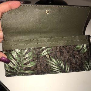 Michael Kors palm leaf print flat wallet